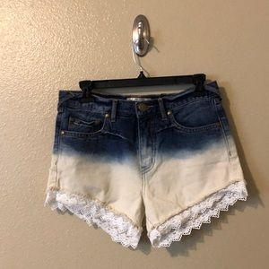 Free People Half Denim Fade into Creme Shorts